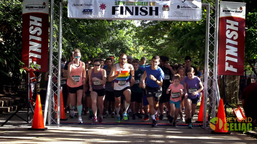The starting line with runners at the Step Beyond Celiac Philadelphia 5K Race